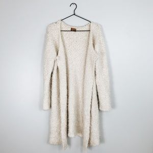 POL Fuzzy Textured Open Cardigan Sweater L